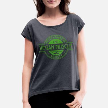 Barbell Club Vegan Muscle Athlete Society Club Member Gift - Women's Rolled Sleeve T-Shirt