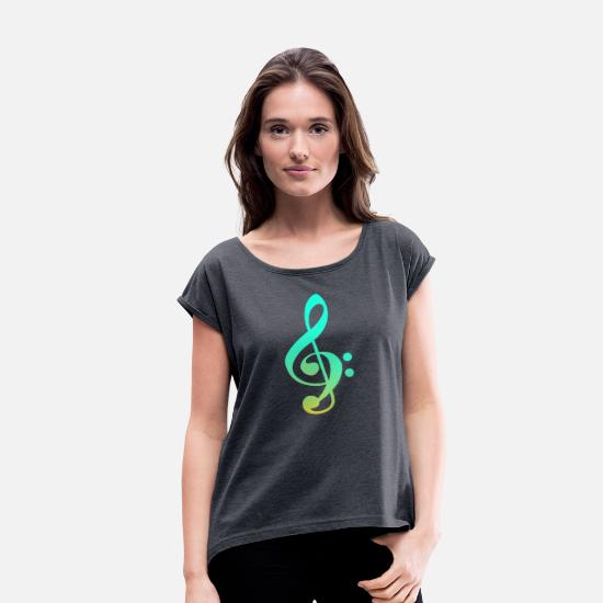 Style Of Music T-Shirts - Bass treble clef - Women's Rolled Sleeve T-Shirt navy heather