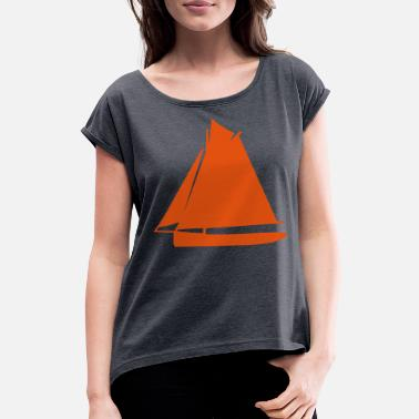 Sail Boat sailing boat - Women's Rolled Sleeve T-Shirt