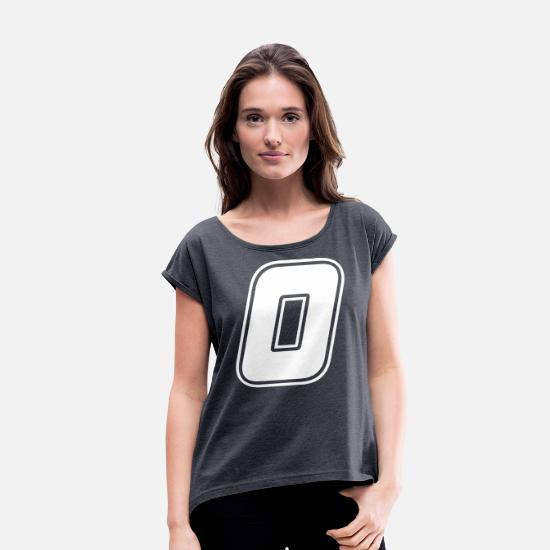 Number T-Shirts - Start number 0 white, number 0 - Women's Rolled Sleeve T-Shirt heather navy