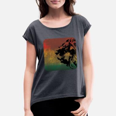 Zion Reggae lion - Women's T-Shirt with rolled up sleeves