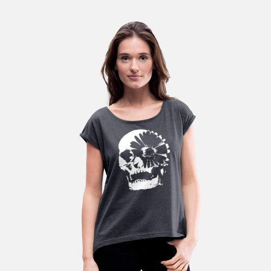 Day T-Shirts - Skull flower day of the dead - Women's Rolled Sleeve T-Shirt navy heather