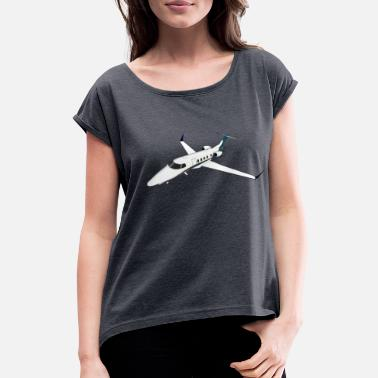 Jet Private Jet Airplane Jet Jet - Women's Rolled Sleeve T-Shirt