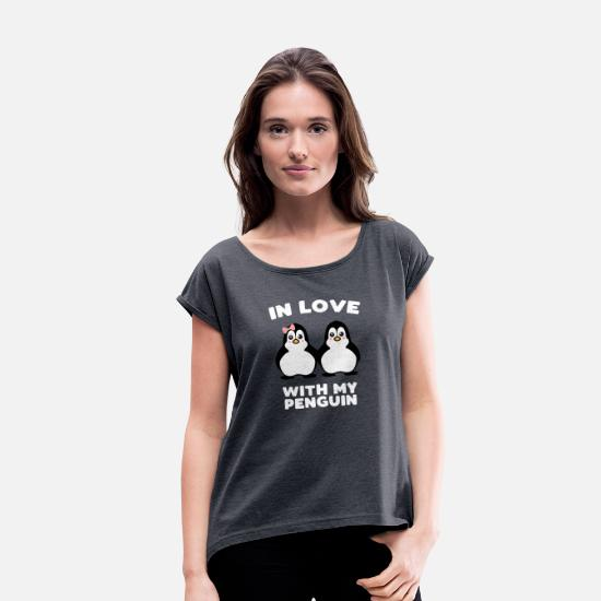 Love T-Shirts - In love pingu love couple wedding baby gift - Women's Rolled Sleeve T-Shirt navy heather
