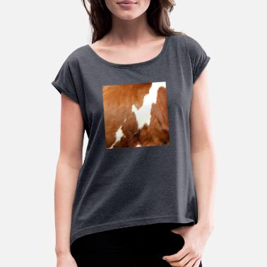 Cowhide cow cows beef farming cow pattern - Women's Rolled Sleeve T-Shirt