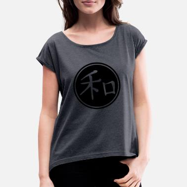 Chinese Sign Peace - chinese sign - Women's Rolled Sleeve T-Shirt