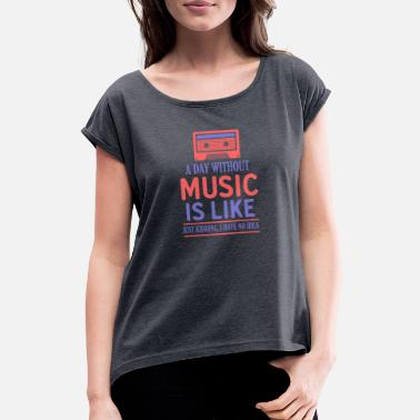 Rock N Roll Music Like Retro Kassette - Frauen T-Shirt mit gerollten Ärmeln