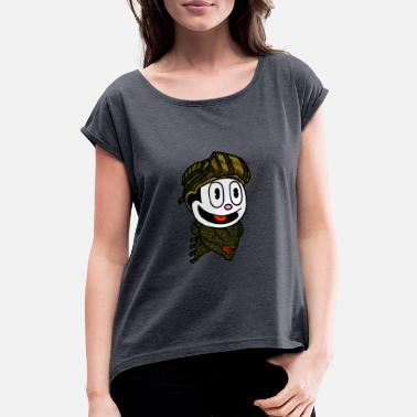 Cat Helmet felix the cat cartoon character with helmet. - Women's T-Shirt with rolled up sleeves