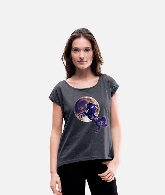 Space T-Shirts - Unicorn full moon, galaxy, space, horse, fantasy - Women's Rolled Sleeve T-Shirt heather navy