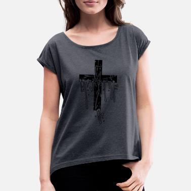 Catholic wet drops graffiti stamp scratch cracks old kr - Women's Rolled Sleeve T-Shirt