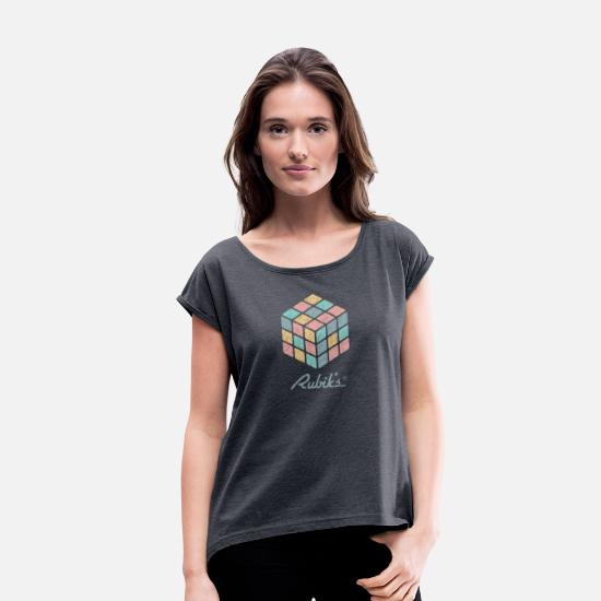 Cube T-Shirts - Rubik's Cube Pastell-Coloured Print - Women's Rolled Sleeve T-Shirt heather navy