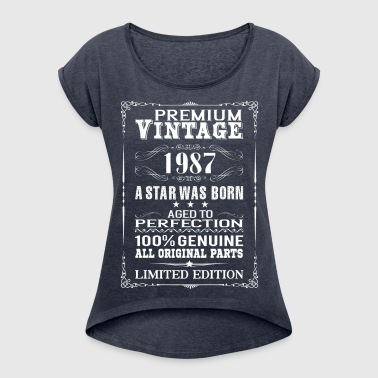 PREMIUM VINTAGE 1987 - Women's T-shirt with rolled up sleeves