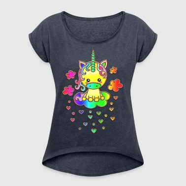 Cute Rainbow Unicorn, Cloud, Kawaii, Manga, Anime - Women's T-shirt with rolled up sleeves