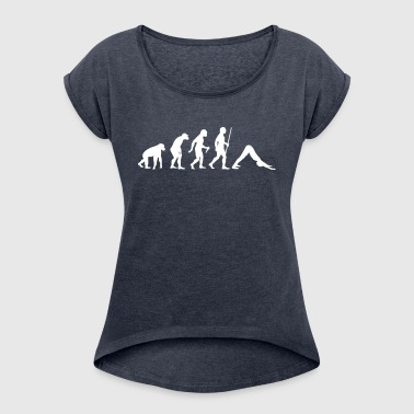 Evolution Yoga (Adho Mukha Svanasana) - Women's T-shirt with rolled up sleeves