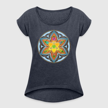 Flower of Life, Merkaba, Chakras, Metatron - Women's T-shirt with rolled up sleeves
