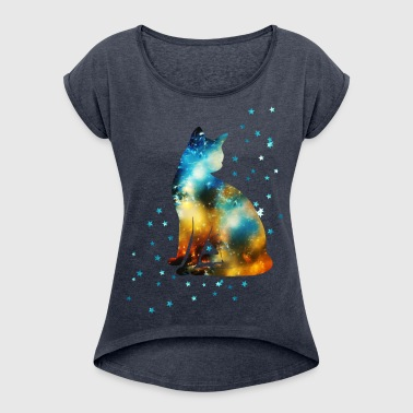 Space Pussy on the Milky Way, Galaxy, Cat, Star - T-shirt à manches retroussées Femme