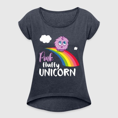 Pink fluffy Unicorn - Women's T-shirt with rolled up sleeves