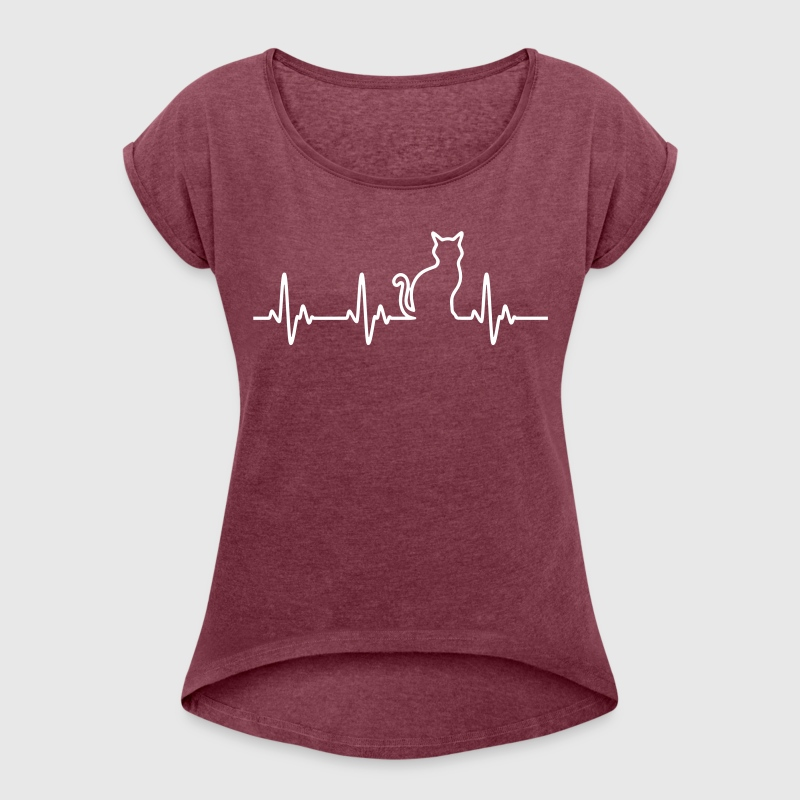 CatHeartbeat - Women's T-shirt with rolled up sleeves