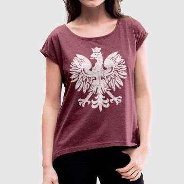 Polish Flag Eagle - Women's T-Shirt with rolled up sleeves