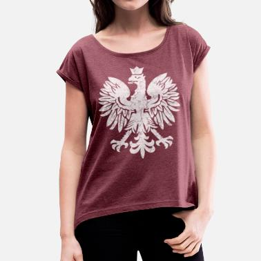 Polish Flag Polish Flag Eagle - Women's T-Shirt with rolled up sleeves