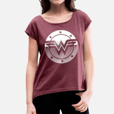 Film Und Tv DC Comics Originals Wonder Woman Retro Symbol - Frauen T-Shirt mit gerollten Ärmeln