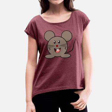 Cuddly Cuddly mouse - Women's T-Shirt with rolled up sleeves