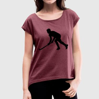 ice hockey ice skating skates puck hel - Women's T-Shirt with rolled up sleeves