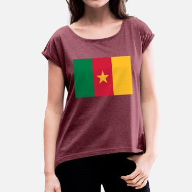 Douala National Flag Of Cameroon - Women's T-Shirt with rolled up sleeves