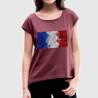 French flags. - Women's T-Shirt with rolled up sleeves