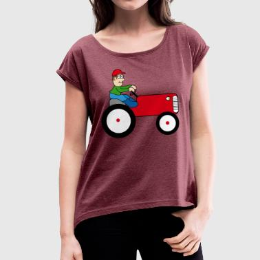 Trecker Tractor | Towing truck Trecker | Bulldog | farmer - Women's T-Shirt with rolled up sleeves