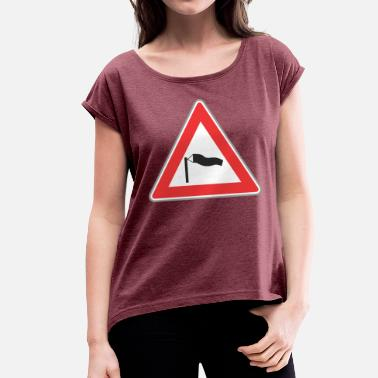 Triangle Sign Road Sign windy triangle - Women's T-Shirt with rolled up sleeves
