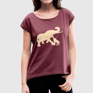 Elephant mother with baby - Women's T-Shirt with rolled up sleeves