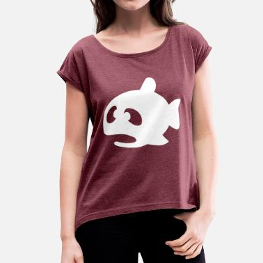 Squint Squinting fish - Women's T-Shirt with rolled up sleeves