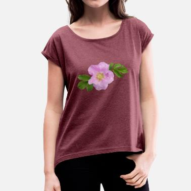 Wild Roses Wild Rose - Women's T-Shirt with rolled up sleeves