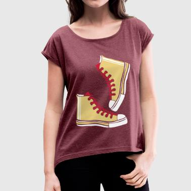 RGB COLOR SNEAKERS - Women's T-Shirt with rolled up sleeves
