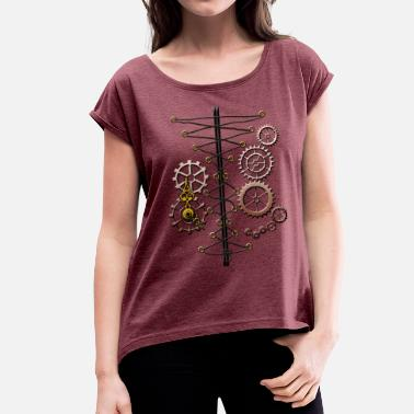 Steampunk Cogs corset and cogs - Women's T-Shirt with rolled up sleeves