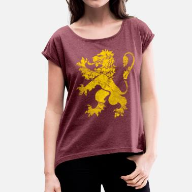 Lion Rampant Flag Lion Rampant, Or - Women's T-Shirt with rolled up sleeves