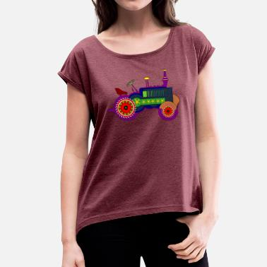 Kids Tractor Tractor, colorful, kids, tractor driving - Women's T-Shirt with rolled up sleeves