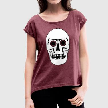 Skull - black-white-flexible - Women's T-Shirt with rolled up sleeves