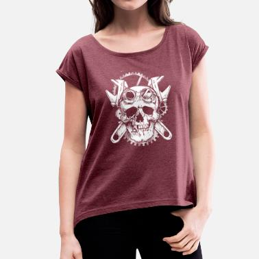 100% Motocross World Of Skulls! - Women's T-Shirt with rolled up sleeves