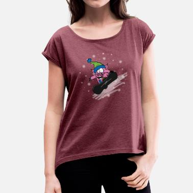Slope Slopes Poops - Women's T-Shirt with rolled up sleeves