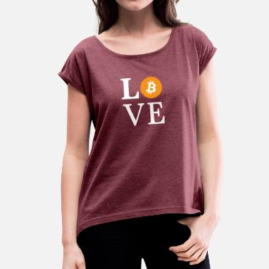 Crypt Love Bitcoin - crypt diet - Women's T-Shirt with rolled up sleeves