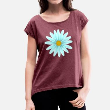 Teal Teal Daisy Top Down - Women's T-Shirt with rolled up sleeves