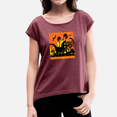 Eruption dinosaur volcanic eruption - Frauen T-Shirt mit gerollten Ärmeln