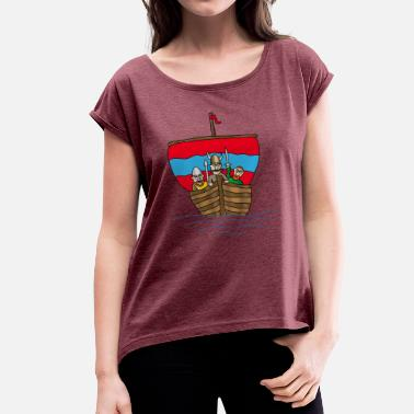 Wiking The Wiking ship | Boat | sailing ship - Women's T-Shirt with rolled up sleeves