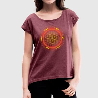Flower of Life, Spiritual Healing Symbol - Women's T-Shirt with rolled up sleeves