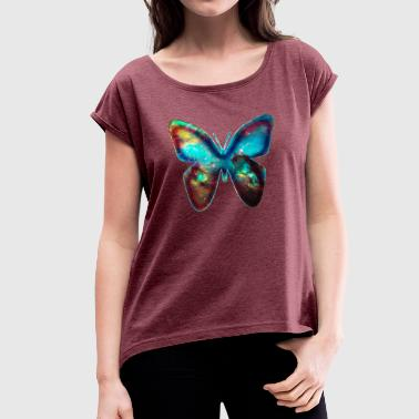 GALACTIC BUTTERFLY, Cosmos, Outerspace, Galaxy - Women's T-shirt with rolled up sleeves