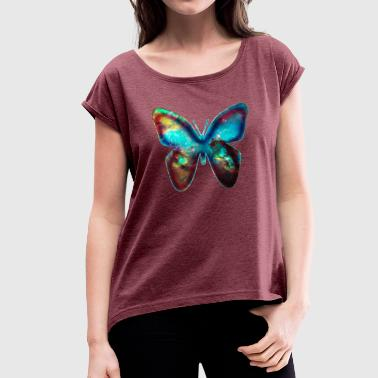 Outerspace Galaxy Butterflies GALACTIC BUTTERFLY, Cosmos, Outerspace, Galaxy - Women's T-Shirt with rolled up sleeves
