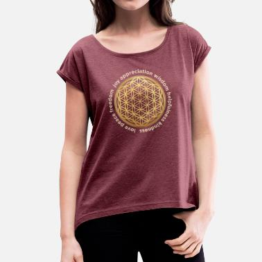 3d Look Flower of life 3D look - Women's T-Shirt with rolled up sleeves