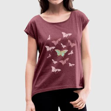 Animal Planet Butterfly Swarm - Women's T-Shirt with rolled up sleeves